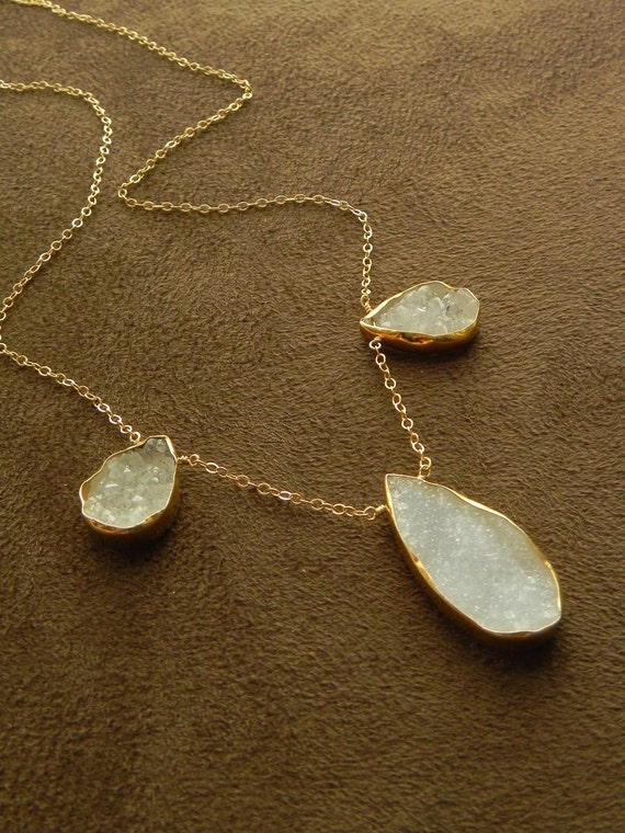 Crystal Quartz and Pale Chalcedony Drusy Vermeil Teardrop Trio and 14kt Gold Filled Necklace Druzy