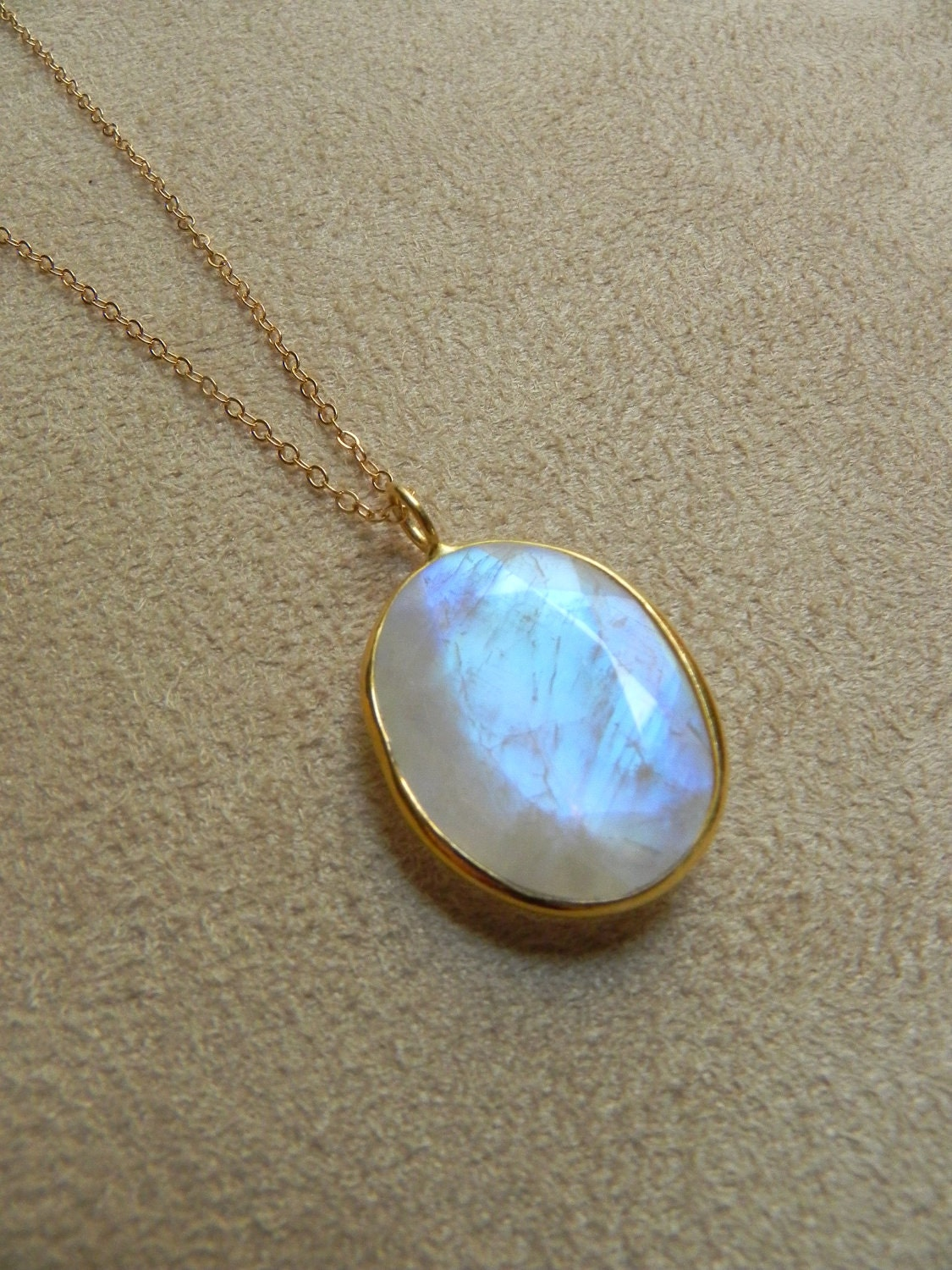 Large Faceted Rainbow Moonstone And Gold Filled Pendant