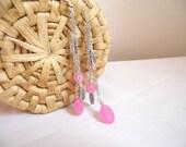 pink jade earrings - shoulder duster