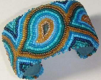 Bead Embroidery Cuff Bracelet - Blue Paisley