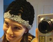 FOR CHERYL - Black & Speckled Gray Crochet Hat