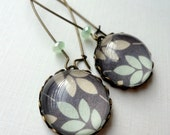 Modern Leaf Earrings. Soft Gray. Pale Peach. Mint Green. Gift for her under 25 usd.