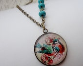 Turquoise Bird Necklace in Antique Brass