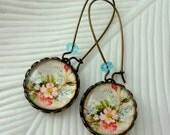 Vintage Flowers Earrings. Light Blue. Pink. Gift for her under 25 usd.