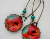 SHOP SALE- Dark Pink, Orange, and Turquoise Flower Earrings. Gift for her under 25 usd