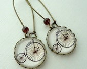 Vintage Bike Earrings in Antique Brass. Cream. Brown. Bicycle. Gift for her under 25 usd