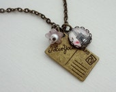 Post Card From Paris Necklace in Antique Brass. Romantic. Flowers. Pale Pink