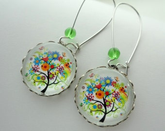 Colorful Tree Earrings in Silver. Spring. Flowers. Multi-color. Rainbow. Gift for her under 25 usd