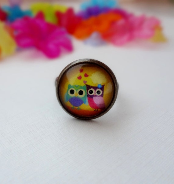 Owls in Love Ring