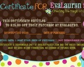 25 Dollar Gift Certificate for EvaLauryn - Wool Felt Play Food Accessories or anything else in my store
