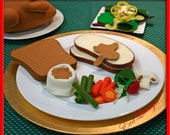 Turkey Slice Wool Felt Play Food - Waldorf Inspired Pretend Kitchen Accessory for Imaginative Pretend Play