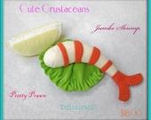 Wool Felt Play Food - Jumbo Shrimp - Waldorf Inspired Pretend Kitchen Accessory for Imaginative Play