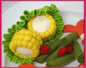 Wool Felt Play Food - Corn on the Cob - Waldorf Inspired Felt Playfood Accessory for Imaginative Play
