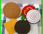 Wool Felt Play Food - Cheeseburger