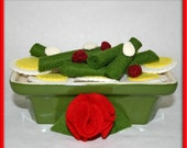 Wool Felt Play Food - Side Dish of Green Beans with Almonds and Cranberries - Waldorf Inspired for Imaginative Play