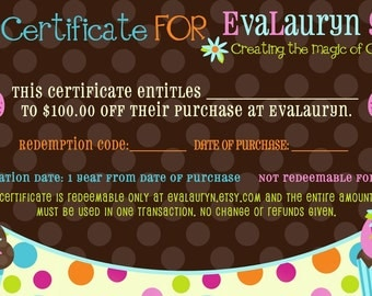 100 Dollar Gift Certificate for EvaLauryn - Wool Felt Food Play Accessories or anything else in my store