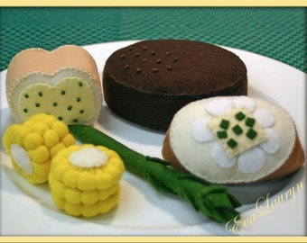 Wool Felt Play Food - Steak Dinner - Waldorf Inspired Accessory for Imaginative Play