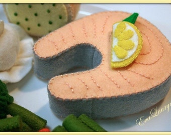 Wool Felt Salmon Steak - Waldorf  Inspired Felt Play Food Accessory for Imaginative Play