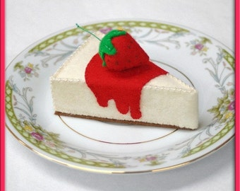 Wool Play Food - Strawberry Cheesecake - Waldorf Inspired Heirloom Quality Wool Felt Play Food