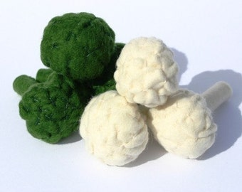 Wool Felt Play Food - Cauliflower - Waldorf Inspired Pretend Kitchen for Imaginative Play