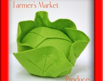 Natural Merino Wool Felt Play Food - Head of Lettuce or Cabbage