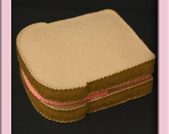 Pretend Felt Play Food - Ham Sandwich - 100% Merino Wool Felt