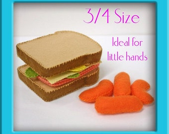 Wool Felt Play Food - Sandwich Set - Waldorf Inspired Pretend Kitchen or Market Accessory for Imaginative Play