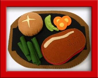 Wool Felt Play Food - Steak and Dinner Roll