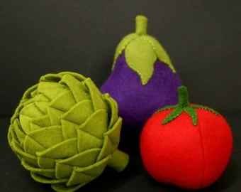 Wool Felt Play Food - Eggplant Vegetable - Waldorf Inspired Felt Play Food Accessory for Imaginative Play