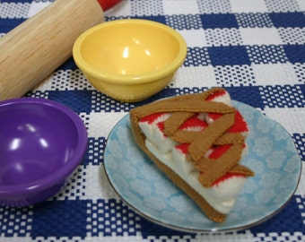 Wool Felt Play Food - Apple Pie Slice - Made with Beautiful Heirloom Quality Wool Felt