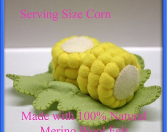 Wool Felt Play Food - Corn on the Cob - Waldorf Inspired Felt Playfood Accessory for Imaginative Play
