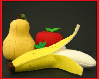 Natural Wool Felt Banana Fruit - Waldorf Inspired Wool Felt Playfood Accessory for Imaginative Play