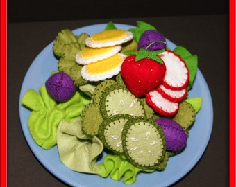 Felt Salad -  Waldorf Inspired Kitchen or Market Place Accessory for Imaginative Play