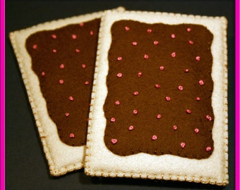 Two Pop Tarts - Chocolate Frosting with Pink Sprinkles - Waldorf Inspired Felt Play Food Accessory for Imaginative Play