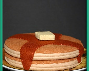 Natural Wool Felt Play Food for Kids - Two Breakfast Pancakes - Waldorf Accessory for Imaginative Play