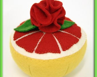 Wool Felt Play Food - Red Grapefruit Half - Waldorf Pretend Kitchen or Market Accessory for Imaginative Play