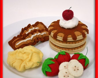 Pretend Felt Play Food - Pancake and Egg Breakfast