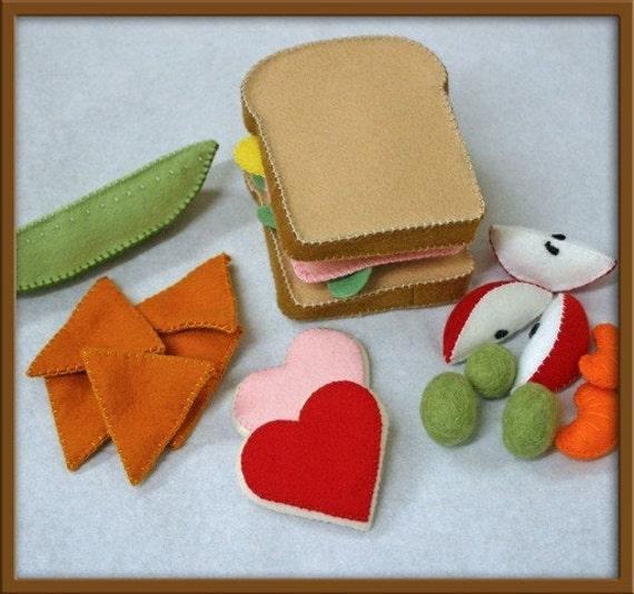 Wool Felt Play Food - Ham Sandwich Set