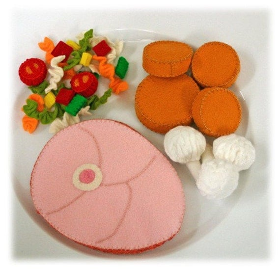 Natural Merino Wool Felt Play Food - Baked Ham Dinner - Waldorf Inspired Pretend Kitchen Accessory for Imaginative Play