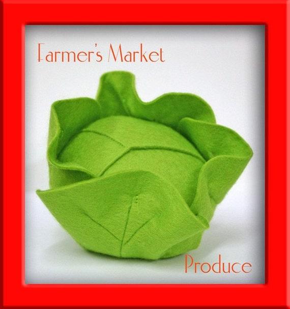 Natural Merino Wool Felt Play Food - Head of Lettuce or Cabbage
