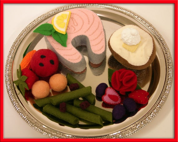 Wool Felt Salmon Steak Play Food - Waldorf Inspired Accessory Sets for Imaginative Play