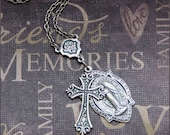 Silver Cross and Medal Necklace - Enchanted Prayer - Handmade by TheEnchantedLocket