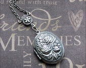 Silver Rose Locket - Enchanted Rose - Jewelry by TheEnchantedLocket - SWEET Girl's First Locket Bride Wedding Anniversary Gift