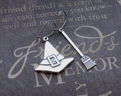 Silver Charm Earrings - Enchanted Broomstick and Hat - By TheEnchantedLocket