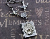 Silver Book Locket Necklace- Enchanted  Steampunk Diary  -  Handmade by TheEnchantedLocket