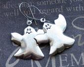 Silver Ghost Earrings - Enchanted Spooky Ghosts - By TheEnchantedLocket