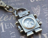 Bronze Robot Keychain - Enchanted Steampunk Bot - Jewelry by TheEnchantedLocket - HOT Unisex Groom Father Graduation Gift
