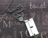 Silver Razor Blade Necklace - Enchanted Razor's Edge - Jewelry by TheEnchantedLocket - UNIQUE Wedding Anniversary Unisex Gift
