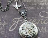 Silver Steampunk Locket Necklace- Enchanted Flight Home - Handmade by TheEnchantedLocket