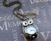 Antiqued Brass Owl Watch Necklace - Enchanted Autumn Owl - By TheEnchantedLocket